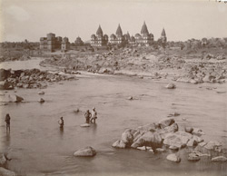 View looking along the Betwa River towards the cenotaphs of the Orchha Rajas, Orchha